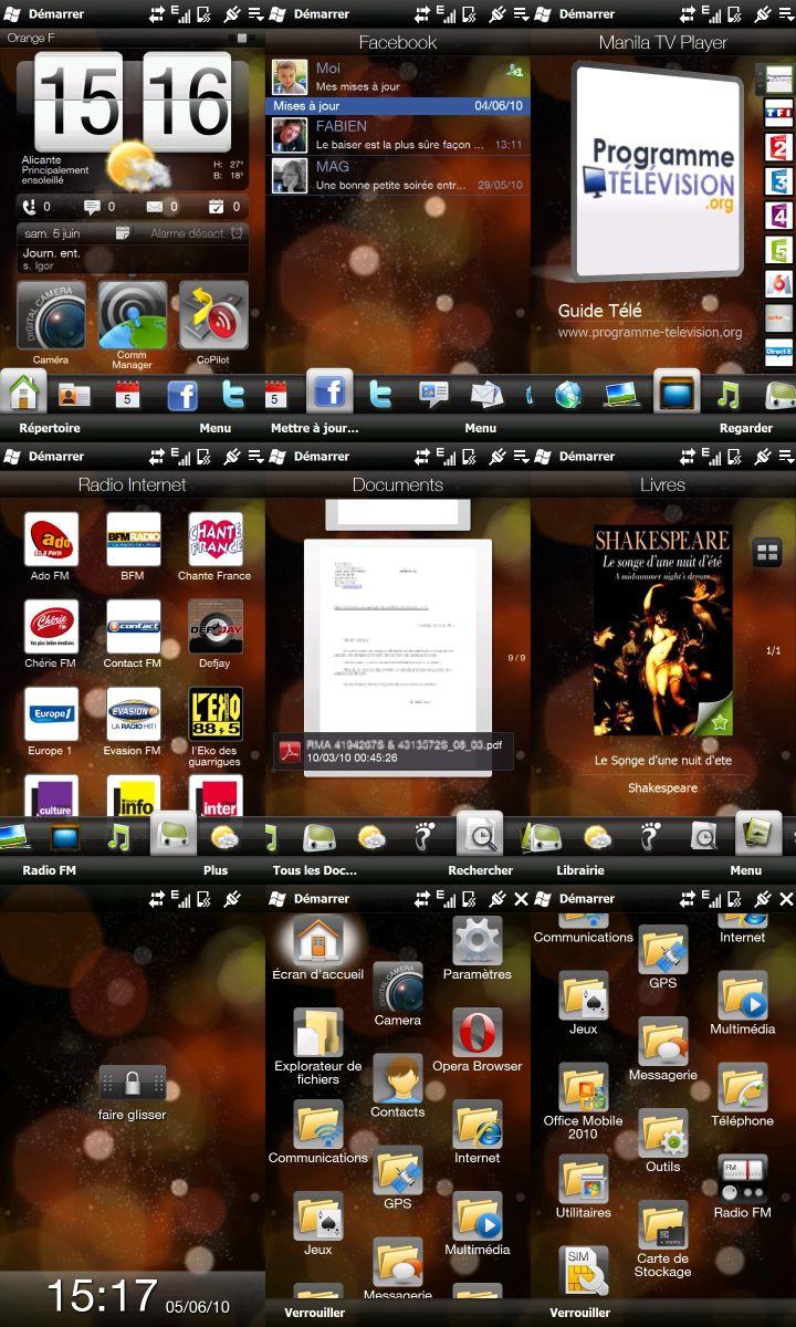 [ROM][FRA][05/06/10][WM6.5.x] NetDrg 2.5j HD2 + TV, Radio, Doc, reader, Facebook Tabs Screen2